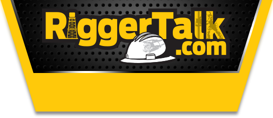 Rigger Talk - Oilfield Services Directory yellow and black logo with hard hat, communications and rig in picture